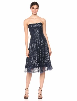 Dress the Population Women's Sarah Strapless Beaded FIT & Flare MIDI Dress