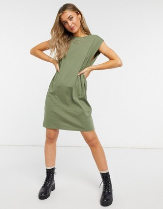 Pieces sleeveless padded t-shirt dress in khaki