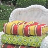 Kingsley Indoor/Outdoor Wicker Rocker Cushion Winston Porter Fabric Stripe Ruby