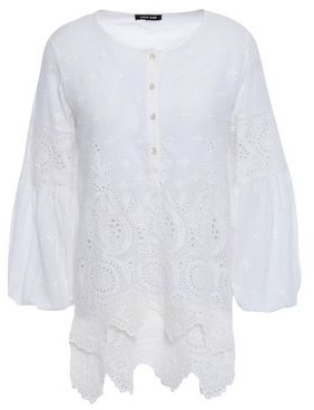 Love Sam Bella Scalloped Broderie Anglaise Cotton-voile Blouse