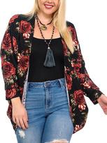 Celeste Black Rose Cardigan - Plus