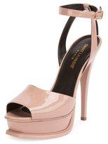 Saint Laurent Patent Ankle-Strap 135mm Sandal, Pink