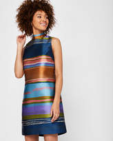 Ted Baker Layered neck striped tunic dress