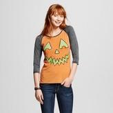 L.O.L. Vintage Women's Halloween Pumpkin Face Raglan