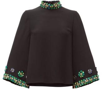Andrew Gn Sequin-embellished Flared-sleeve Top - Black