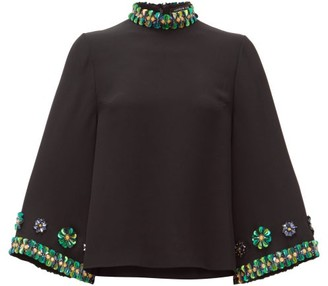 Andrew Gn Sequin-embellished Flared-sleeve Top - Womens - Black