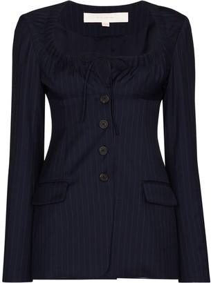 By Any Other Name Pinstripe-Pattern Wool Blazer