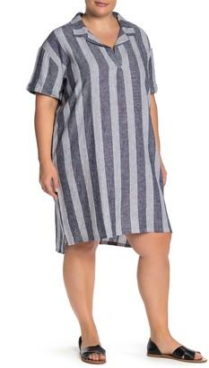 Susina Striped Short Sleeve Linen Blend Shift Dress (Plus Size)