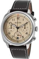 Bulova Watches Mens Chronograph Leather Band Watch
