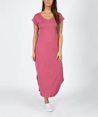 Capella Women's Casual Dresses DARK - Dark Mauve Pocket Side-Slit Maxi Dress - Women