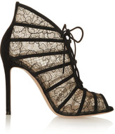 Gianvito Rossi Suede-trimmed Chantilly Lace Boots - Black