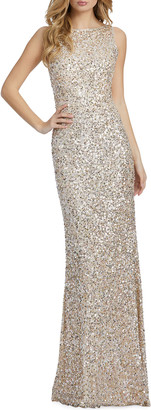 Mac Duggal Sequin High-Neck Sheath Gown