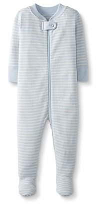 Moon and Back One Piece Footed Pajama Sleepers, Blue