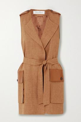 Max Mara Danza Belted Leather-trimmed Linen Vest - Camel