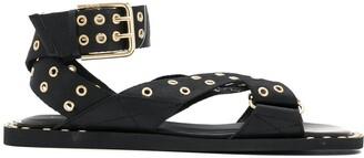 Emporio Armani Eyelet Stud Strap Sandals