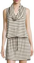Max Studio Sleeveless Striped Cowl-Neck Dress, Bone/Black