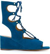 Chloé 'Foster' wedged lace up sandals - women - Calf Suede/Leather - 36.5