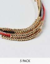 Asos Lightweight Bracelet Pack With Gold Beads