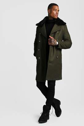 BoohoomanBoohooMAN Mens Green Faux Fur Collar Military Style Overcoat, Green