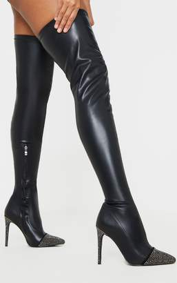 Indigo Black Diamante Embellished Thigh High Sock Boot