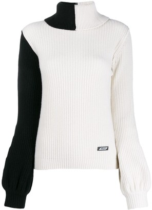 MSGM contrast cable-knit sweater