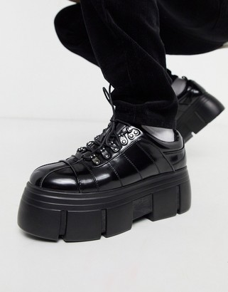 Asos Design DESIGN lace up shoes in black faux leather with chunky platform sole