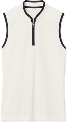 Tory Burch Performance Sleeveless Half-Zip Top