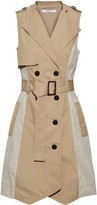 Derek Lam 10 Crosby Double-breasted Two-tone Cotton-gabardine Mini Dress