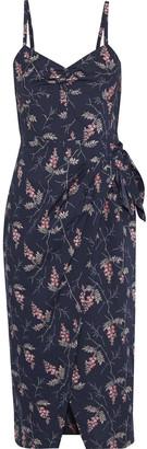 Rebecca Taylor Wrap-effect Floral-print Cotton-poplin Dress