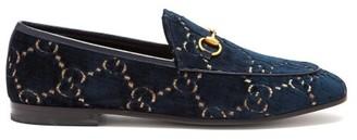 Gucci Jordaan Gg Velvet Loafers - Womens - Blue