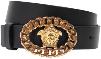 Versace Leather Belt W/ Medusa Buckle