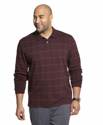 Van Heusen Men's Big & Tall Big and Tall Flex Long Sleeve Jaspe Windowpane Polo Shirt