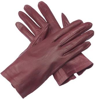 Christian Dior Burgundy Leather Gloves