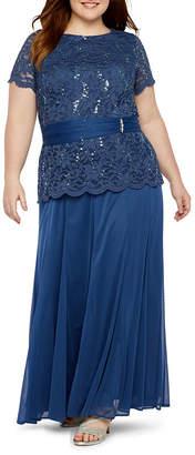 ONYX Onyx Short Sleeve Lace Embellished Evening Gown-Plus