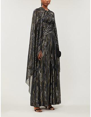 Peter Pilotto Cape-sleeved metallic crepe midi dress