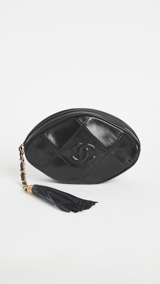 What Goes Around Comes Around Chanel Black Lambskin Oval Pouch