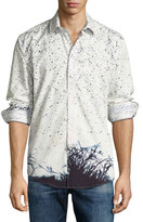 English Laundry Branch-Print Sport Shirt, Navy