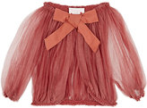 Lanvin GATHERED SHEER SILK-BLEND TULLE JACKET-ORANGE SIZE 4