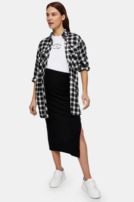 Topshop Womens **Maternity Black Ribbed Midi Skirt - Black