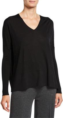 Akris Punto Studded Wool V-Neck Sweater