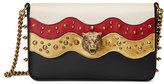 Gucci Studded Leather Chain Shoulder Bag, White/Black/Red