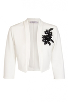Quiz Cream And Black Embroidered Cropped Jacket