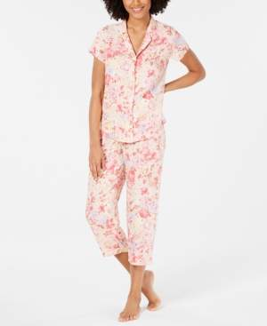 Miss Elaine Notch Collar Top and Cropped Pants Printed Pajama Set