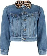 Marc by Marc Jacobs leopard collar cropped denim jacket