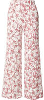 Emilia Wickstead Hullinie Floral-print Crepe Wide-leg Pants - Red