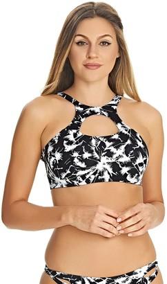 Freya Womens Palm Haze Underwire High Neck Bikini Crop Top 34F