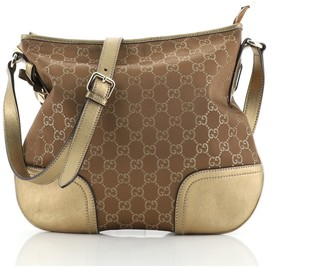Gucci Princy Crossbody Bag GG Satin with Leather Medium