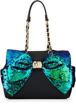 Betsey Johnson Bow-Lesque Sequined Satchel Bag, Black