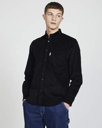 The Idle Man - Button Down Cord Shirt Black
