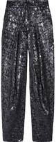 Sequin-embellished cropped brocade pants